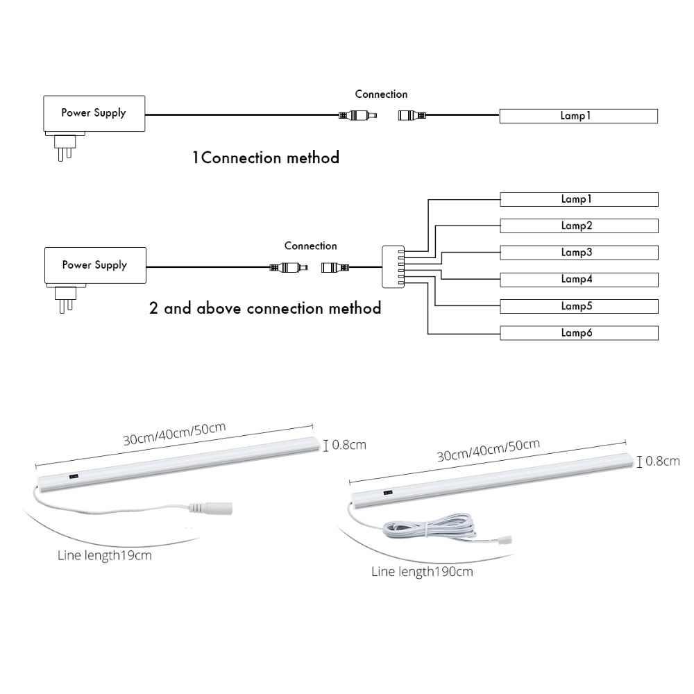 Tangan Wave Control Dapur Lampu LED Bar Lampu Lemari Lemari Bar Lampu LED 30/50 Cm Sensor Gerak Tangan scan Menyapu Dapur Lampu