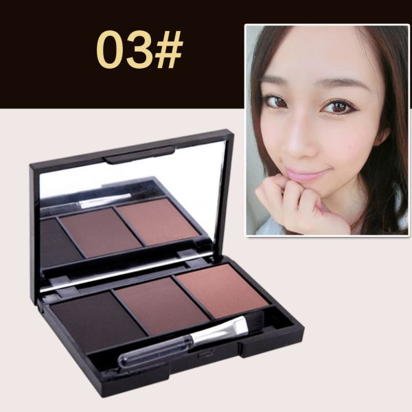 Hot Professional Kit 3 Color Eyebrow Powder Shadow Palette Enhancer with Ended Brushes 8