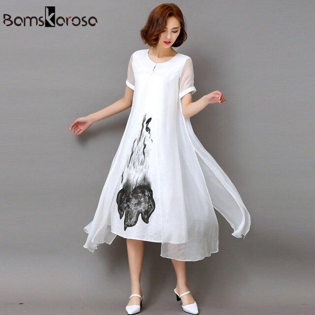 f5d9ae1862f Bamskarosa 2018 New Women Dress Loose Light Casual Summer Dress Cotton Linen  Black White Long Dress Vestidos Plus Size S-3XL