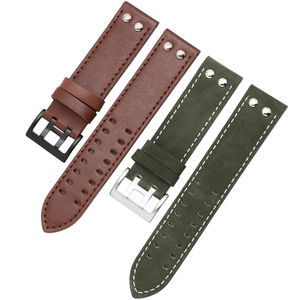 Image 4 - Genuine Leather watchband replacement leather strap Khaki Classic Jazz Seiko watch chain for Hamilton 20mm 22mm