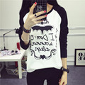 2017 New Fashion Woman Cotton Tops Female T-shirt Long Sleeve O-neck Loose Letter Printed T-shirts for Women Plus Size Clothing