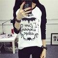 2017 nueva moda mujer de algodón tops mujer camiseta de manga larga del o-cuello flojo impreso letra t-shirts para mujer plus size clothing