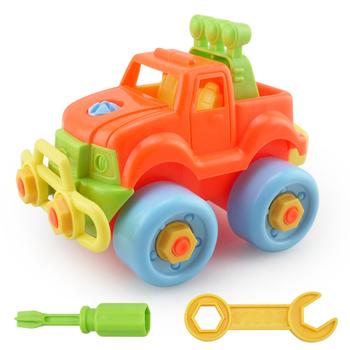 Samochody zabawkowe demontaż DIY dzieci demontaż montaż zabawka zmontowany zestaw klocków narzędzie wczesna edukacja dla dzieci tanie i dobre opinie VKTECH Z tworzywa sztucznego As picture Model Car Assembly Toy 1 32 Pojazdu Safe use do not swallow the small part Unisex