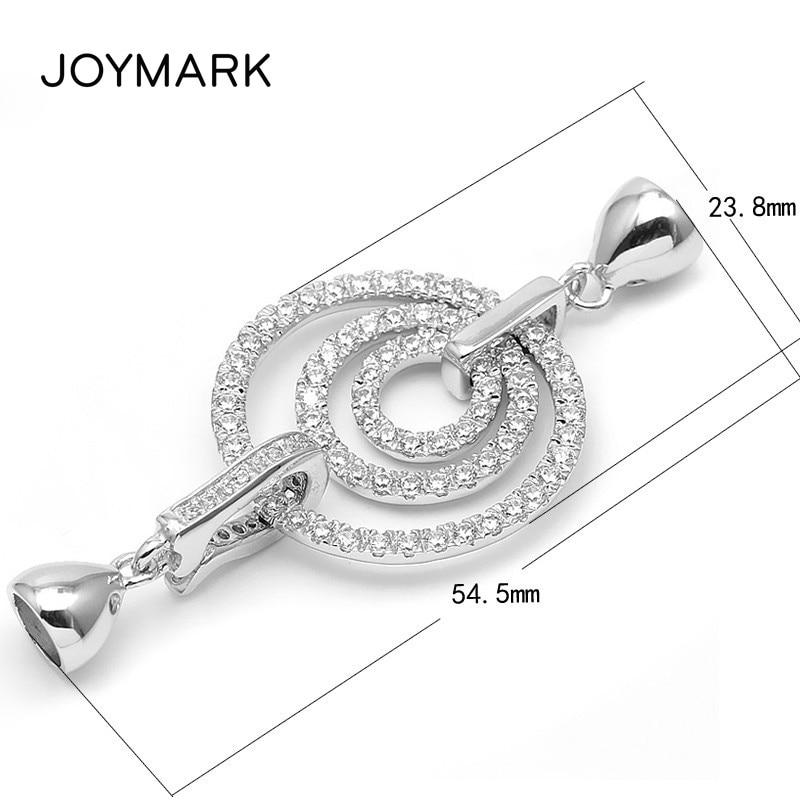 Fermoirs de connecteur de capuchons d'extrémité de Triple rond de Zircon de Micro pavage d'argent Sterling plaqué par Rhodium blanc 925 pour le collier de perle SC-CZ069