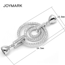 White Rhodium Plated 925 Sterling Silver Micro Pave Zircon Triple Roundels End Caps Connector Clasps For Pearl Necklace SC-CZ069