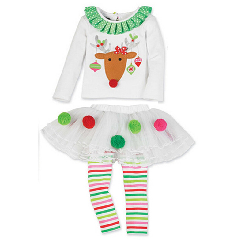 baby girl christmas shirtsskirt clothing sets autumn kids fashion long sleeve t shirt lace skirt suit children deer clothes set in clothing sets from - Girls Christmas Shirts