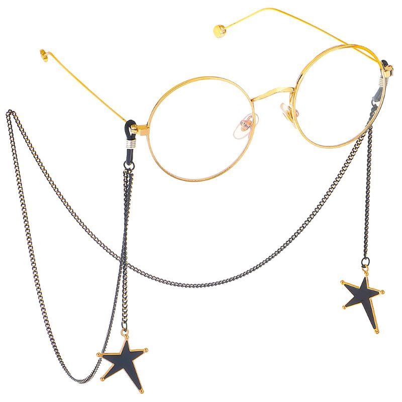 1 Pc 75cm Glasses Chain Star Black Pendant Irregular For Reading Glasses Sunglasses