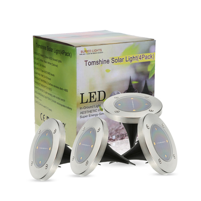 Tomshine Outdoor Lamp 4Pcs Solar Powered Ground Light  Water-resistant 4 LED 40LM Path Garden Landscape Spike Lighting