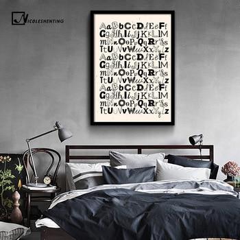 Od A do Z drukuj alfabet płótno artystyczne Vintage plakat minimalistyczny obraz Z nadrukiem przedszkole obraz ścienny dekoracja pokoju dziecięcego