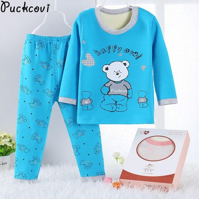 dc0fbd8c5d pijamas clothing set Winter Kids Cotton fleece Pijama printing Youth boys girls  Pajamas kids T-shirt+pants clothing sets Pyjama