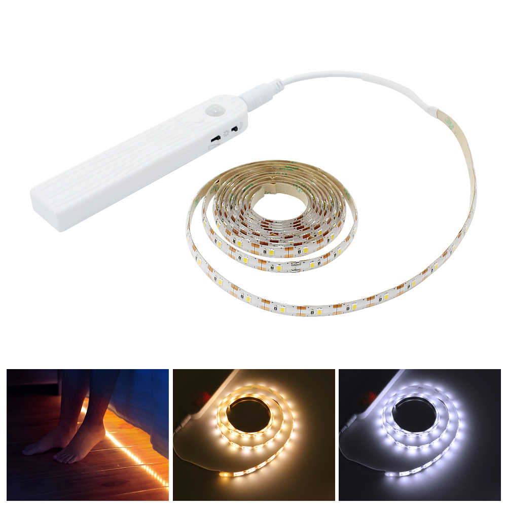 New 3M 2M 1M LED Strip Light PIR Motion Sensor Waterproof Night Lamp Tape Battery Powered For Stairs Hallway Closet Wardrobe