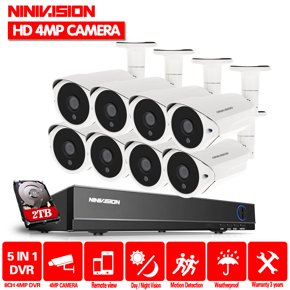 8 kanal CCTV system AHD 4MP DVR mit 8 stücke Super HD 4MP Sicherheit kamera System 4MP 36 LEDs kamera video überwachung kit 2 tb