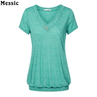 Messic Cross V Neck Casual Women T Shirts Summer Short Sleeve Solid Tee With Buttons Lightweight