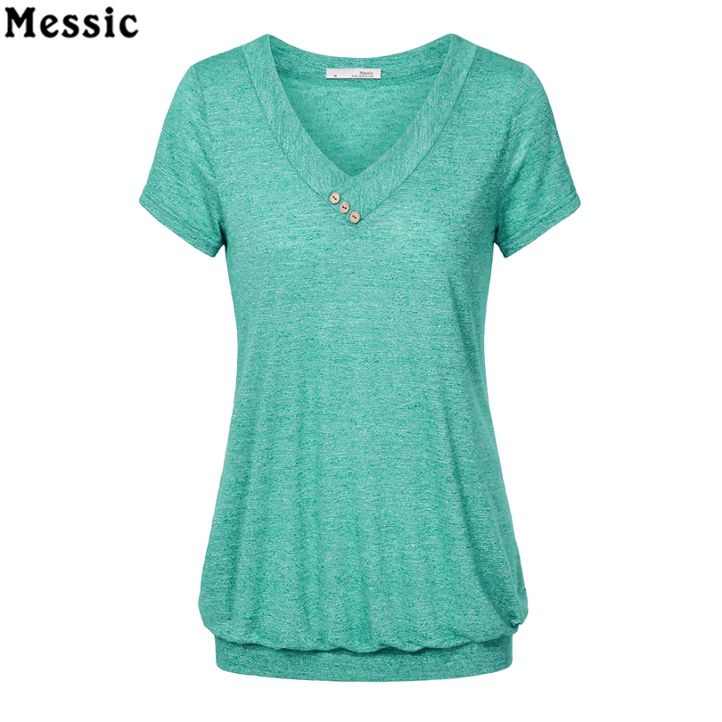 Messic Cross V Neck Casual Women T Shirts Summer Short