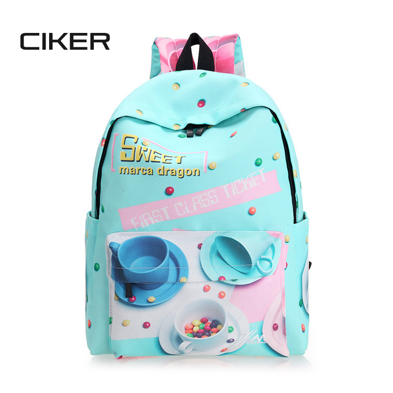 CIKER Brand fashion cute candy printing backpack women canvas school bags laptop backpacks for teenage girls travel bag mochilsa 2016 18 inch cute cat printing backpack women school bags for teenage girls fashion men travel bags good quality