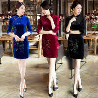 chinese traditional dress women's clothing modern robe chinoise sexy qipao black cheongsam dress