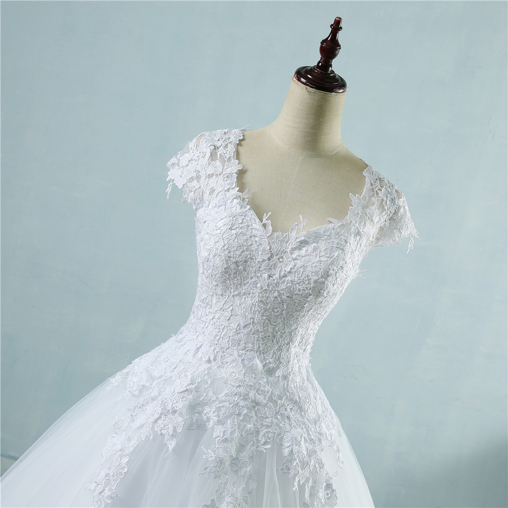ZJ9085 2018 lace White Ivory Short Cap Sleeve Wedding Dresses for ...