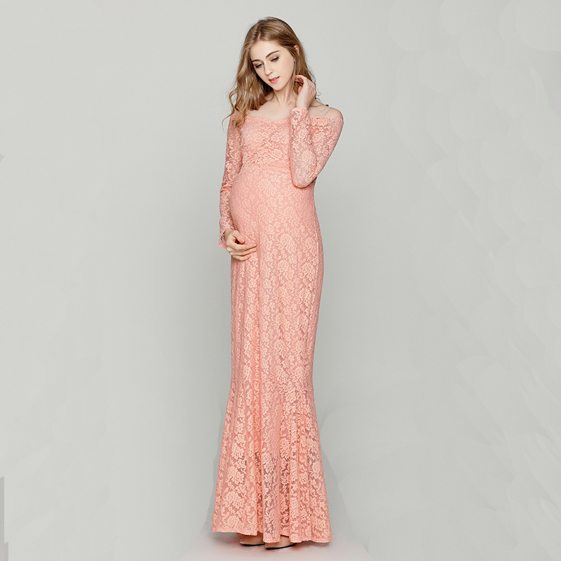 Pregnant Women Plus Size Photography Props Lace Dress Pregnancy Maternity Fashion Photo Shoot Long Dress for baby shower Clothes maternity dress women photography props sleeveless elegant pregnancy clothes pregnant photo shoot clothing long gown dress