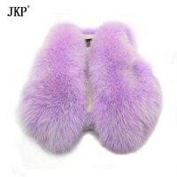 Зимние Детские Фиолетовый Натуральный Лисий Мех животных жилет девочки; Дети толстые теплые Натуральный мех пальто жилет MJ17