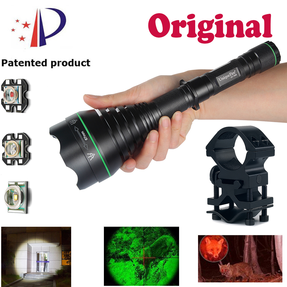 UniqueFire Flashlight 1508 67mm Lens Focusing Outdoor Special White/Green/Red Light Multifunctional Flashlight3 Mode+Scope Mount uniquefire 1508 67mm lens cree xpe green red white light led flashlight torch 3 mode zoomable for outdoor camping hunting