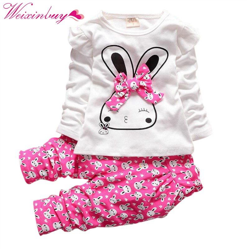 Kids Infant Baby Girls Winter Autumn Sprinf Warm Pullover Tops +Long Pants Outfits Set Kids Clothes 2pcs Sets envsoll winter warm baby kids girls