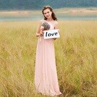 Bridesmaid Dresses EP08742 Pink Peach Women Elegant Chiffon Empire Sleeveless Lace Plus Size Long Bridesmaid Dresses
