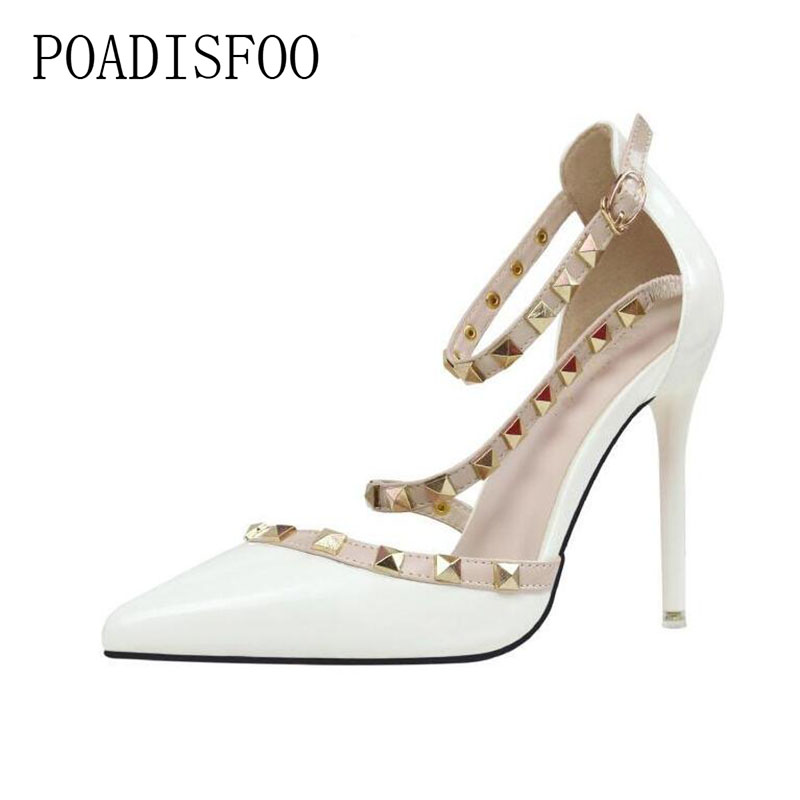 цена на POADISFOO simple sexy nightclubs high-heeled shallow mouth pointed rivets women's shoes Ankle Strap High Heel Shoes .ZWM-1138