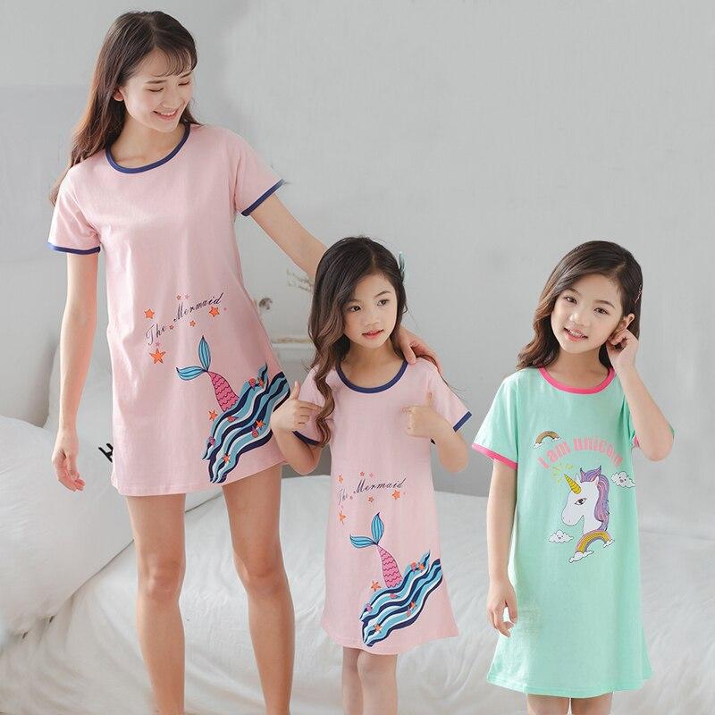 Girls Cotton Unicorn Nightdress Parent-child Baby Sleeping Dress Children Summer Short-sleeved Nightgown Little Girl Sleepwear