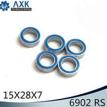 6902RS Bearing 10PCS 15x28x7 mm ABEC-3 Hobby Electric RC Car Truck 6902 RS 2RS Ball Bearings 6902-2RS Blue Sealed 2pcs rubber sealed 440 stainless steel hybrid ceramic ball bearings s6803 6803 2rs 17 26 5mm si3n4 bike part