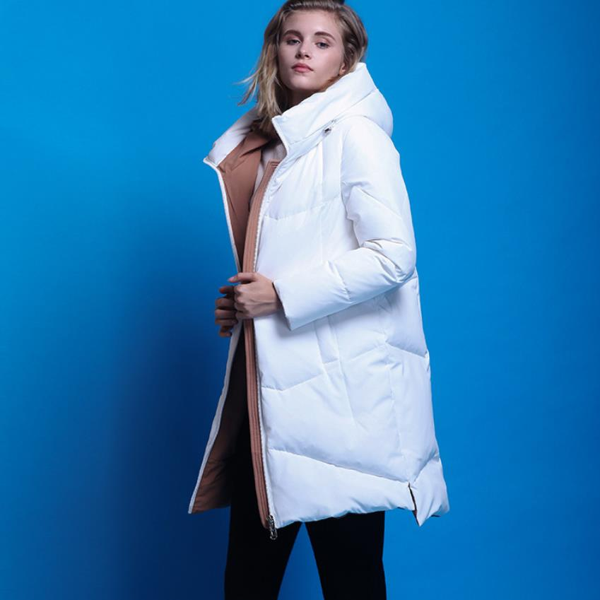 Winter fashion brand Europe station 95% white duck   down   jacket female was slim hooded thicker warm   down     coat   with pockets wq623
