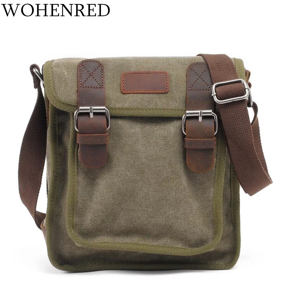Casual Men's Crossbody Bag Multifunctional Vintage Portable Shoulder Messenger Bags High Quality Leather Canvas Small Male Bag