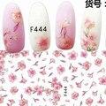 1 лист красивые цветки сакуры, японской вишни цветок бабочка конструкции клей для ногтей Книги по искусству наклейки украшения DIY Советы F44X - фото