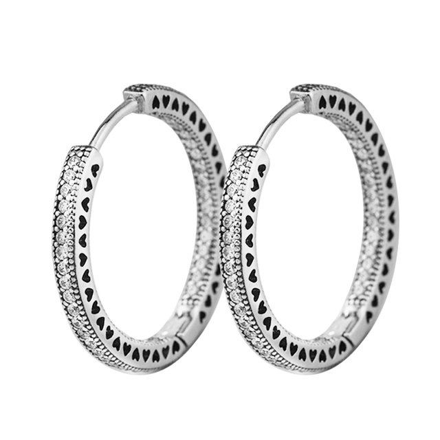 8c9f19243 Earrings for women Hearts Signature Silver HOOP Earring BrincoS 925  Sterling Silver Jewelry DIY Orecchini Oorbellen Pendientes
