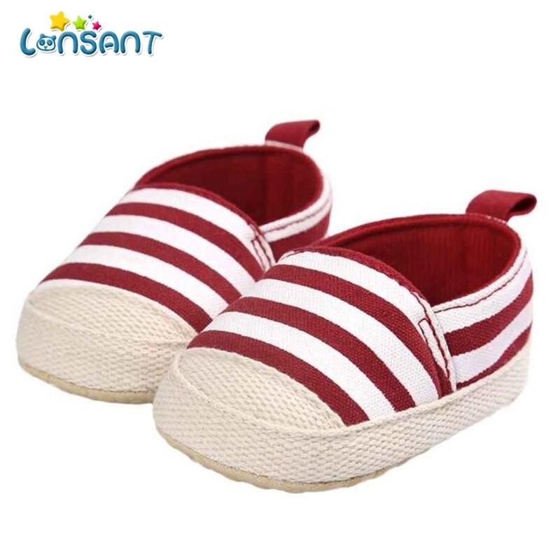 LONSANT Girl Stripe Canvas Shoe Baby Boys Shoes Sneaker Anti-slip Soft Sole Toddler E1120
