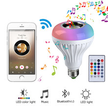 13 Colors E27 Smart LED Light Music Bulb Ball Wireless Bluetooth Speaker Player Audio 12W Lamp Home Party with Remote Control(China)