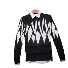 2016 Best Goods Men Thicken Printed Pattern Pullover Sweater Spring Aurumn Bottoming Long Sleeve Sweater Casual Slim Hot Sale