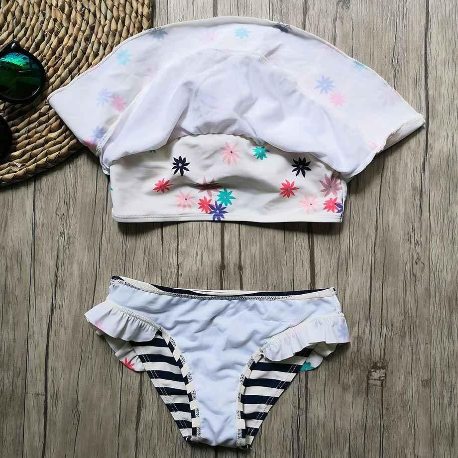 7-14 سنوات لباس بحر للفتيات الاطفال طباعة اثنين من قطعة الأطفال ملابس السباحة مخطط فتاة مجموعة البكيني الطفل ملابس سباحة حريمي لباس سباحة لفتاة