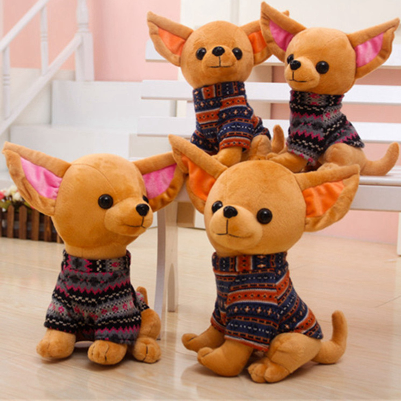 25CM Cute Dog Chihuahua Dolls Plush Dogs Stuffed Pet Soft Toys Kids Children Birthday Gifts Decor Collection dog supplies silicone pet frisbee soft light training pet dog toys