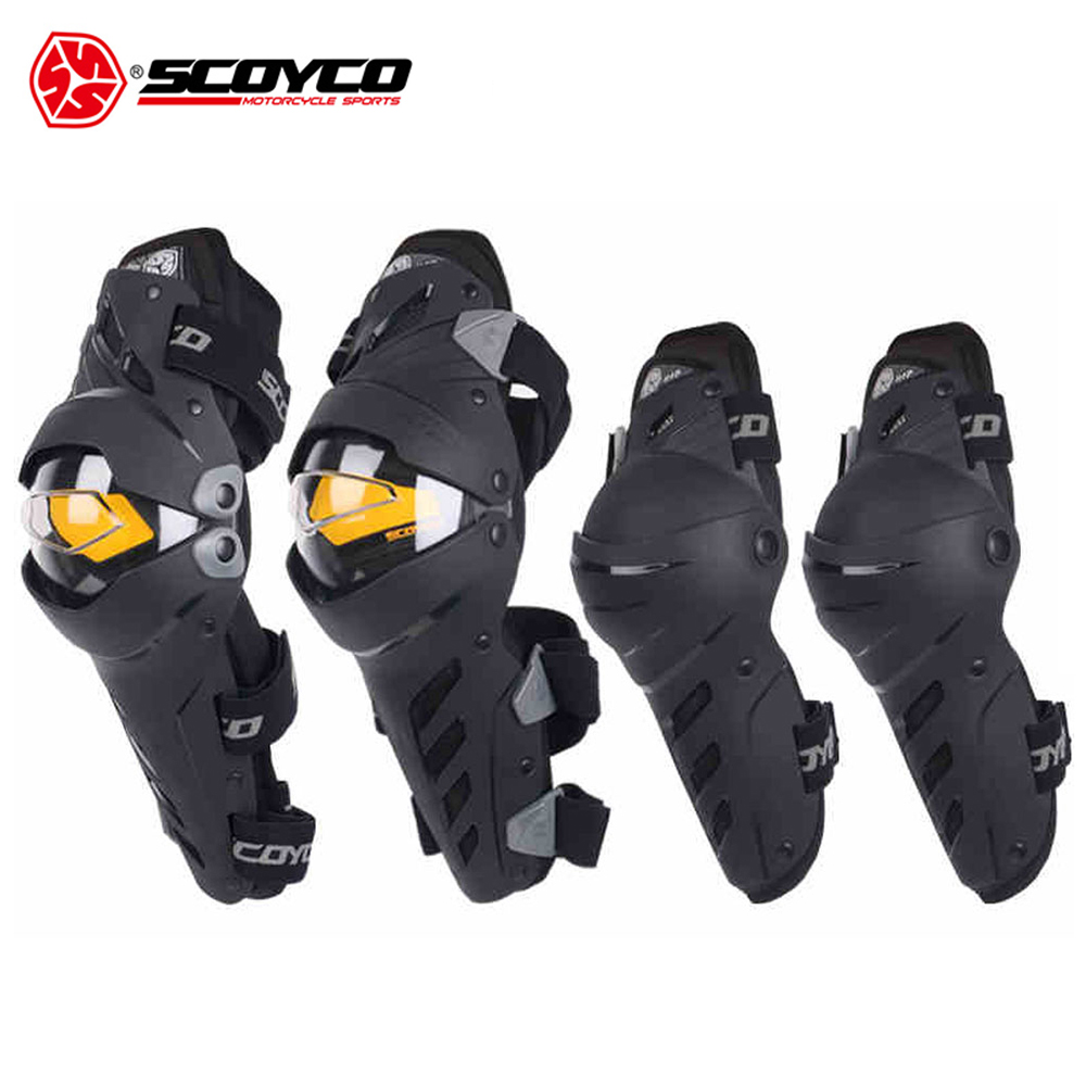 SCOYCO Motocross Knee Pads Motorcycle Knee Protector And Elbow Protector Outdoor Sports Motorcycle Equipment 7pcs xiaomi skating cycling helmet knee pads elbow wrist brace set