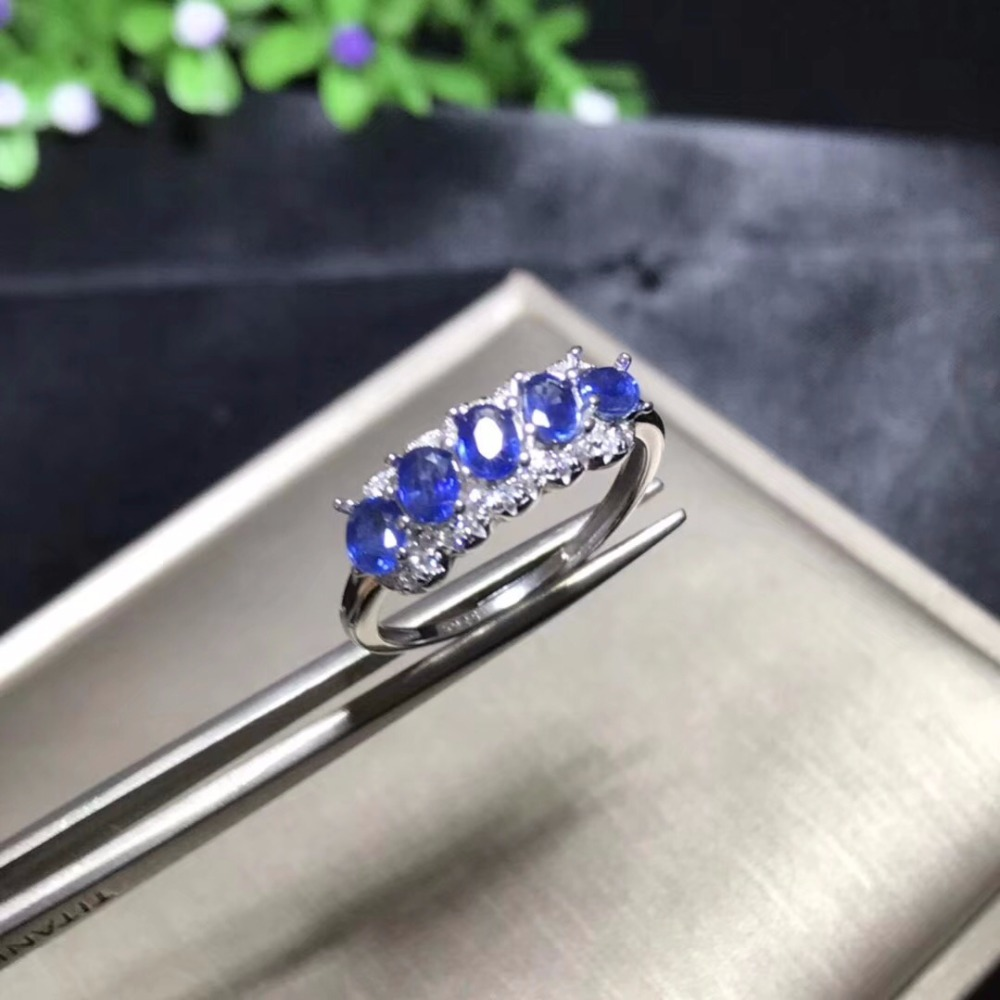 Almei Natural Sapphire Ring for Women, 925 Sterling Silver Wedding Jewelry, 5*7mm*5 Pcs with Velvet Box Certificate FJ229Almei Natural Sapphire Ring for Women, 925 Sterling Silver Wedding Jewelry, 5*7mm*5 Pcs with Velvet Box Certificate FJ229