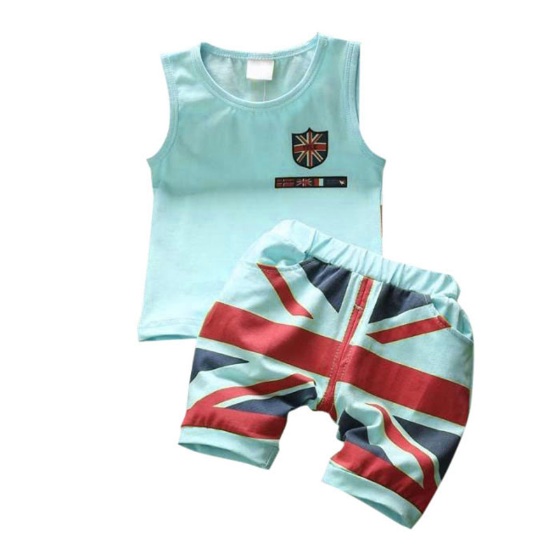 Fashion Summer Baby Boys Clothes Sets Roupas Infant Kids Boys Clothing Set Vest + Pants 2PCs Children Clothes Suit