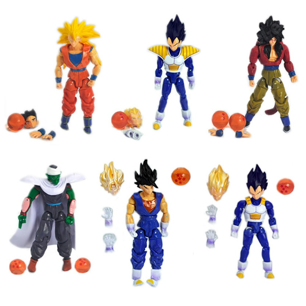 6pcs Set DBZ Dragonball Dragon Ball Z Movable Action Figure Toy Loose Fun Child Gift Free Shipping funny fishing game family child interactive fun desktop toy