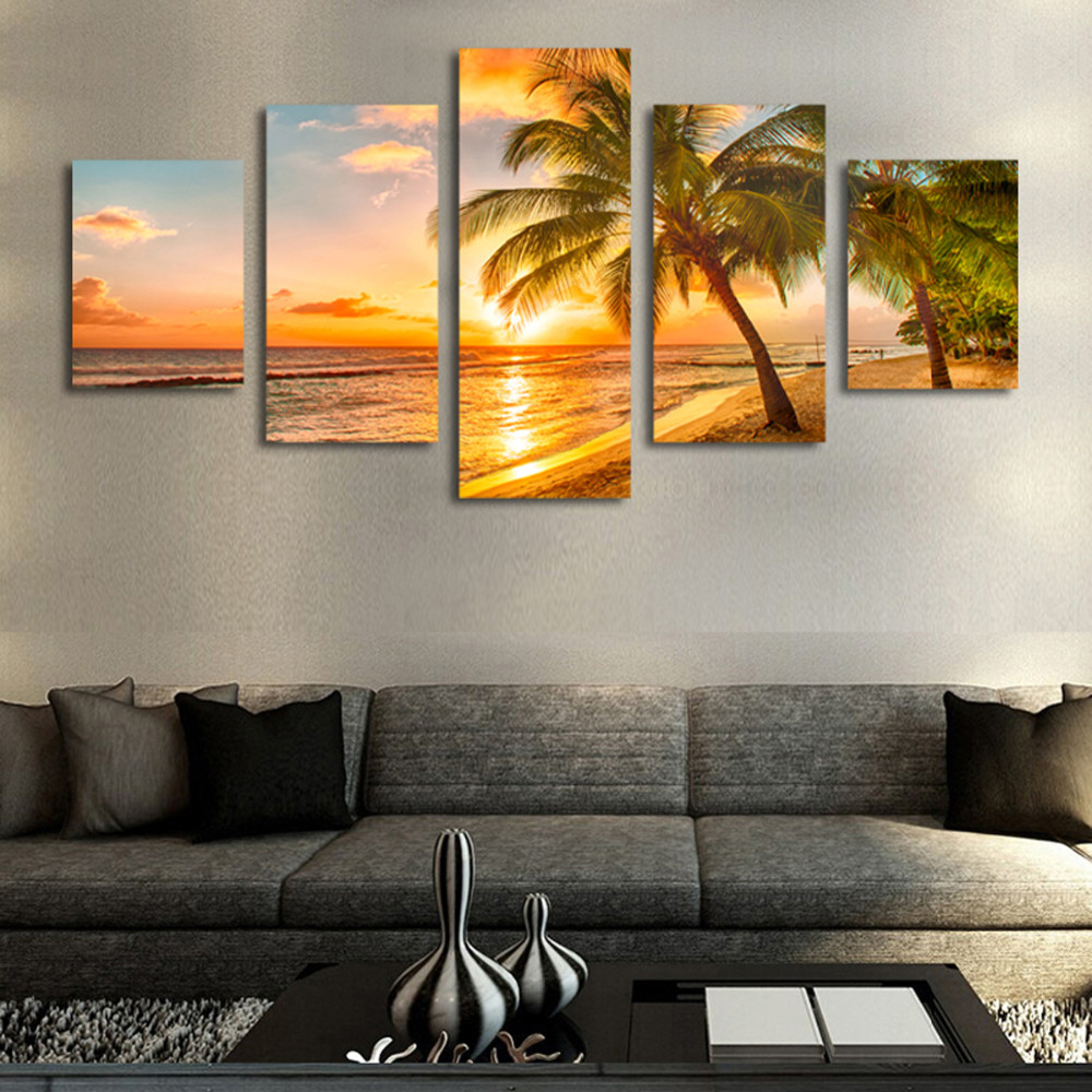 5 Pieces Framed Sandy Beach Wall Art Picture Gift Home Decoration