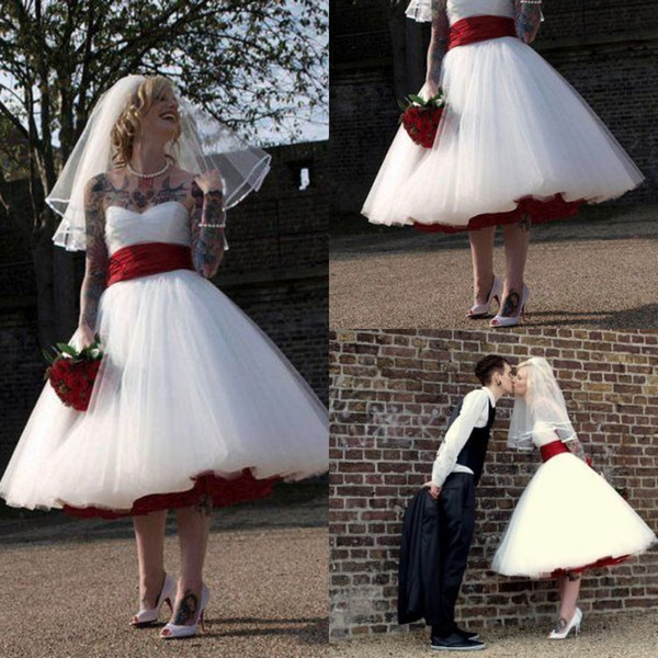 US $91.1 21% OFF|Rock And Roll Gothic Wedding Dress With Red Sash A Line  Knee Length Boho Tulle Short Bridal Dress Cheap Plus Size Wedding Gowns-in  ...