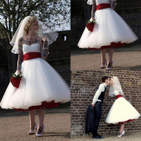 Rock And Roll Gothic Wedding Dress With Red Sash A Line Knee Length Boho Tulle Short Bridal Dress Cheap Plus Size Wedding Gowns
