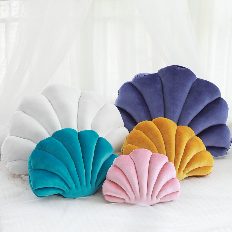 INS HOT Girl House Sofa Decoration Cartoon Shell Pillow Baby Window Decorated Shell Shape Cushion Kids Gift