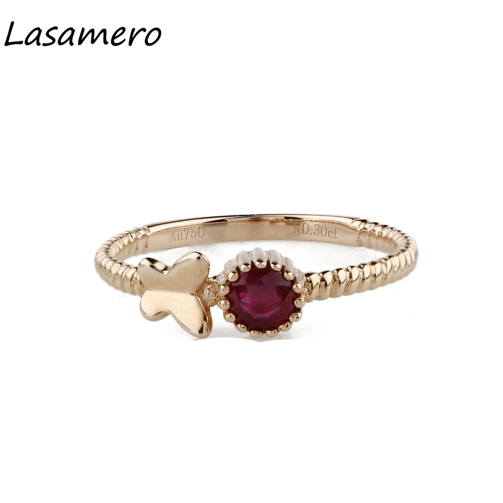 LASAMERO Ring For Women 0.3CT Round Cut Ring Natural Ruby Ring Accents 18k Gold Engagement Wedding Ring