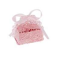 20pcs DIY Rose Carved Pattern Wedding Candy Box Iridescent Paper Cookie Gift Box Wedding Party Supplies