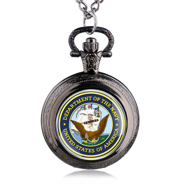Fashion United States Navy Steel Quartz Pocket Watch Vintage Men Army Military Watch With Chain Gifts HB905
