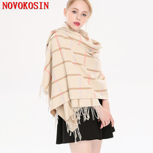 SC268 Luxury Plaid Pattern Scarf 2018 Female Thick Faux Cashmere Ring Scarf Women Pashmina Tassel Fashion Warm Striped Shawl